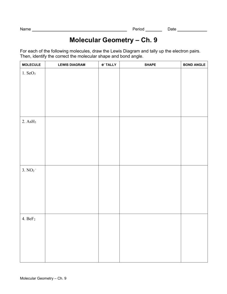 Molecular Shapes Worksheet 767777