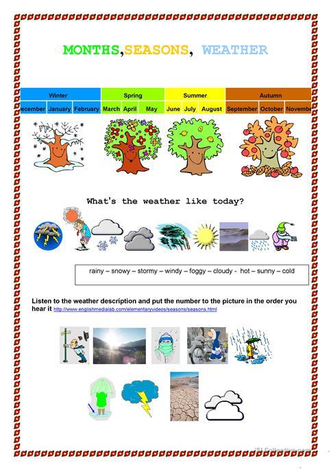 Month, Seasons Weather Worksheet