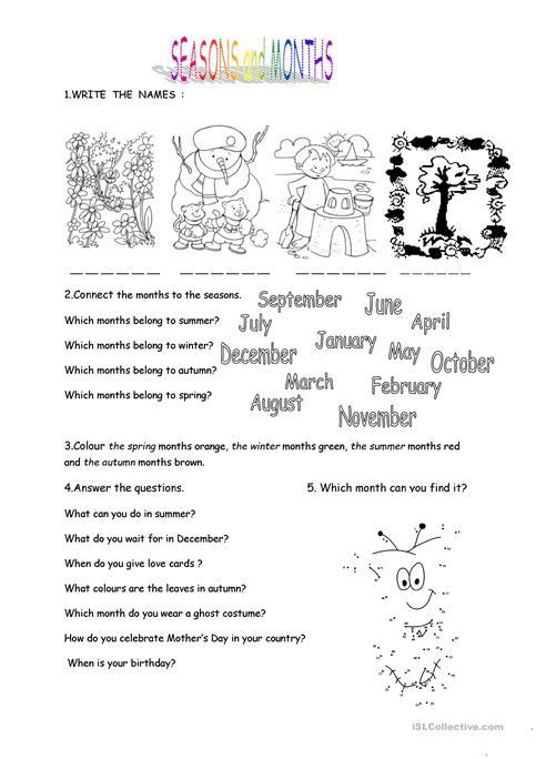 Months And Seasons Worksheet