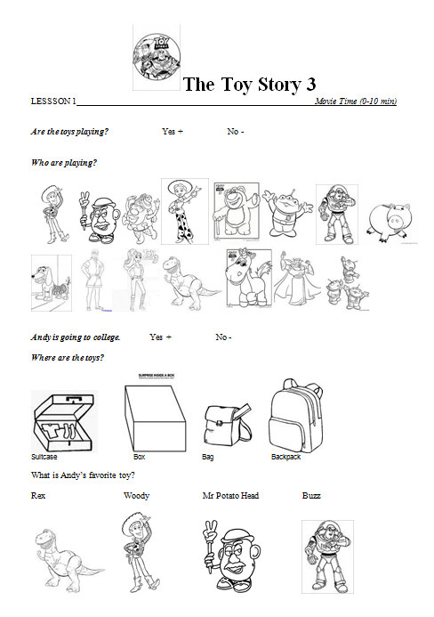 Movie Worksheet  Toy Story 3 Lesson 1