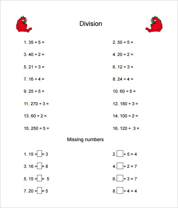 Multiplication And Division Worksheets Grade 4 550941