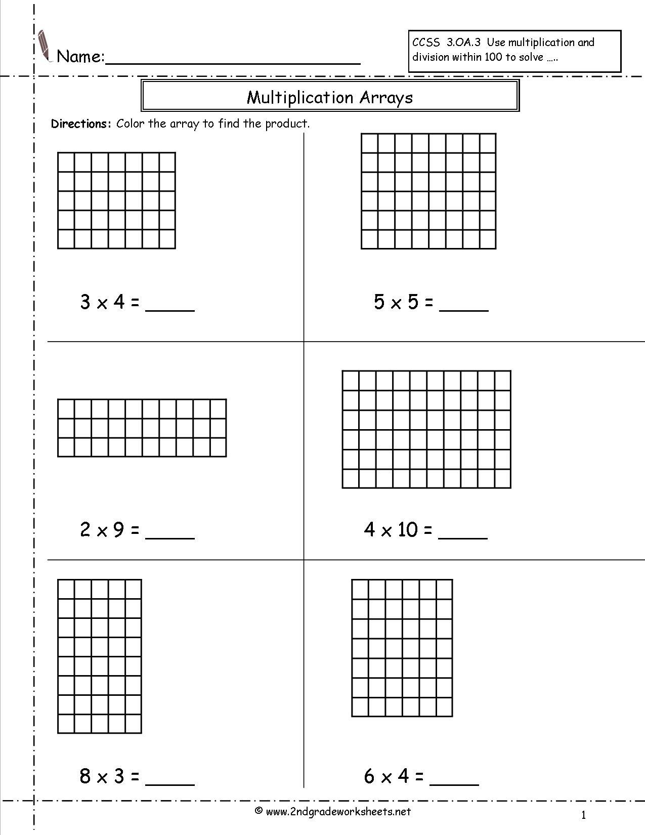 Multiplication Arrays Worksheets Grade 2 1033347