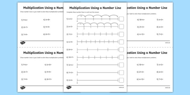 Multiplication On A Number Line Worksheet   Activity Sheet Pack