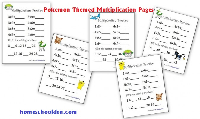 Multiplication Practice Sheets 3s Through 6s (pokemon Theme) And
