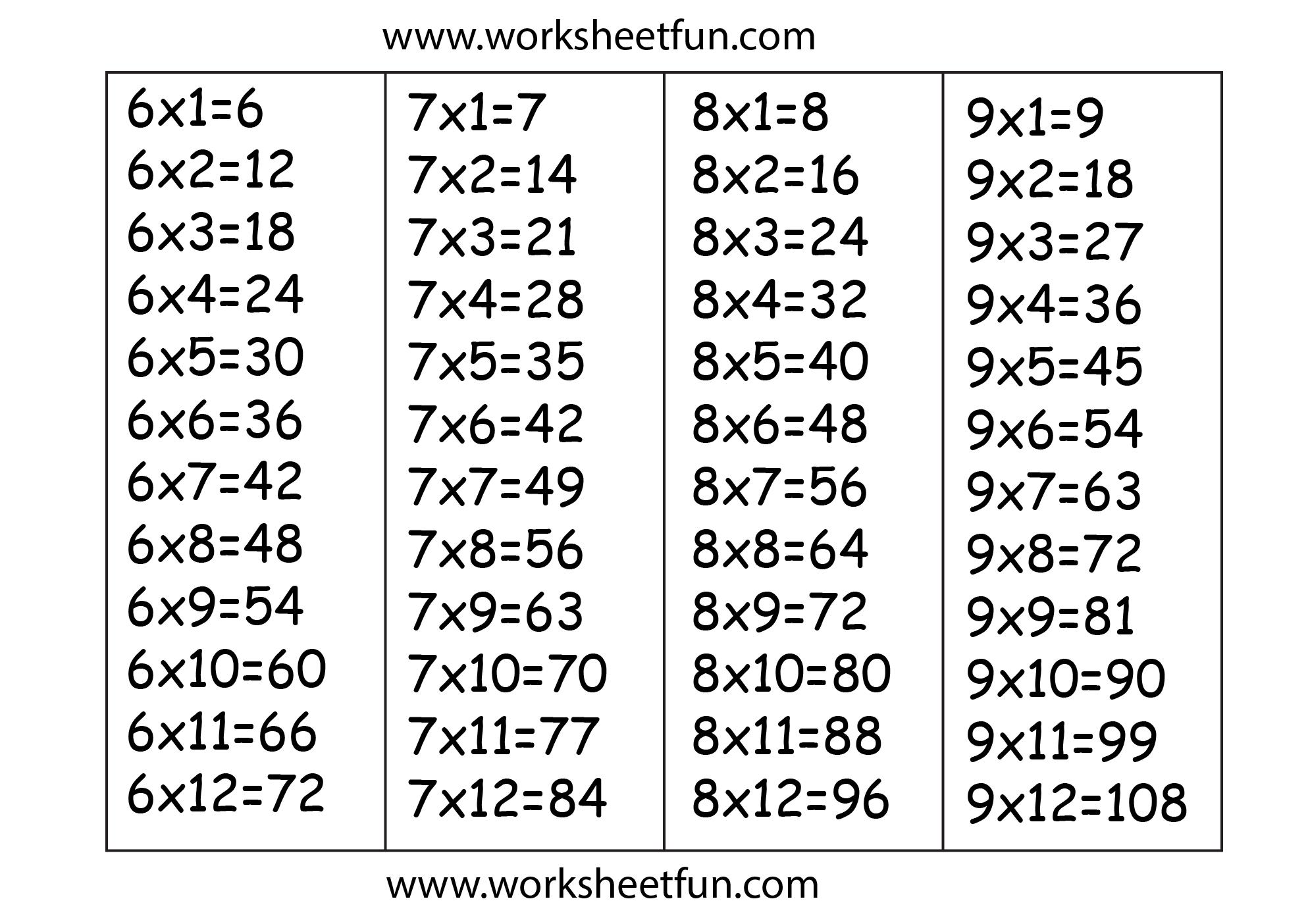 Multiplication Worksheets For 6 7 8 9 236287