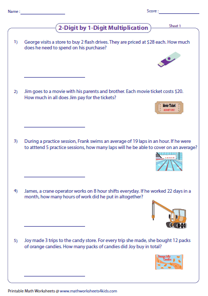 Multiplication Worksheets Problem Solving 1323182