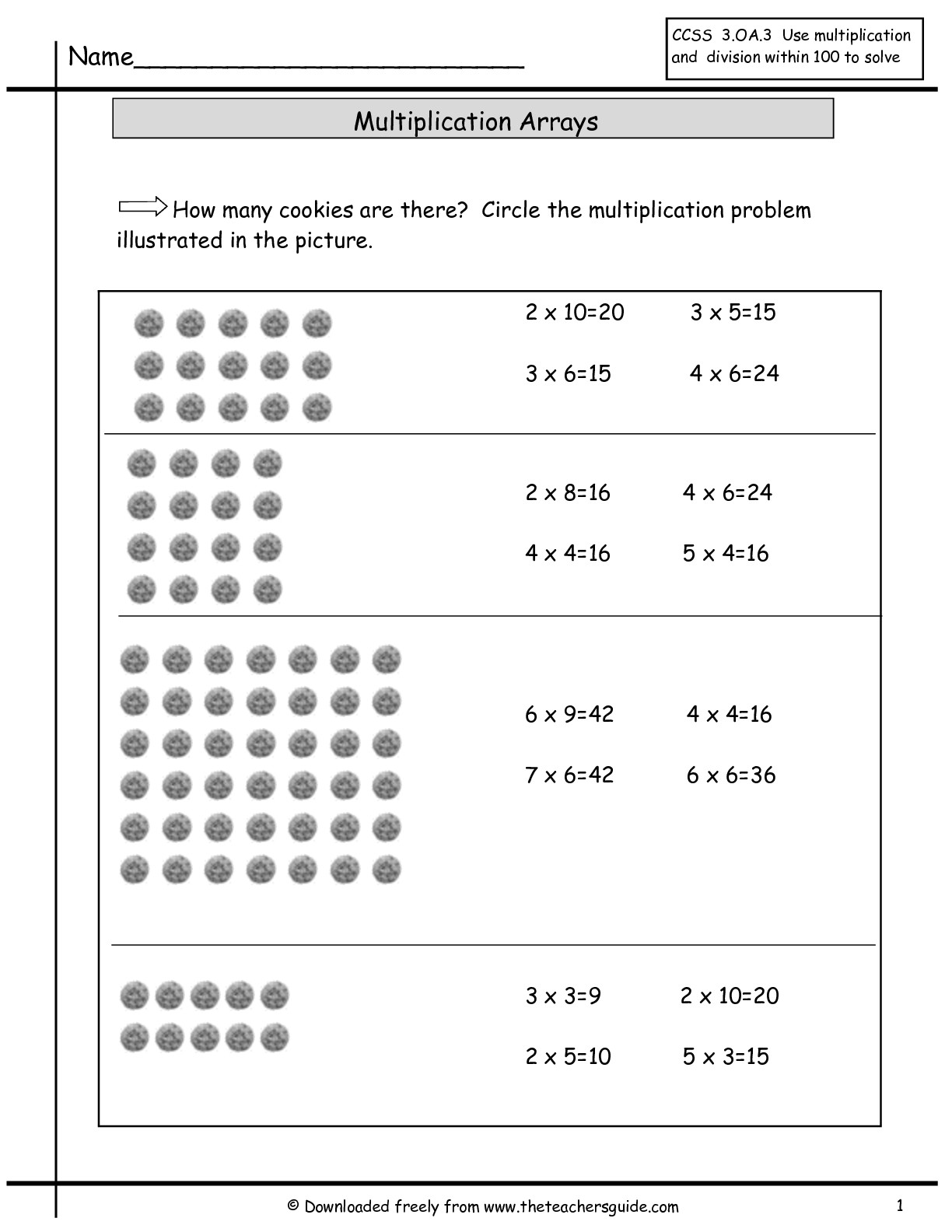 Multiplication Worksheets Using Arrays 920908