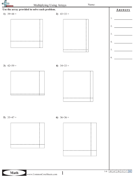 Multiplication Worksheets With Area Model