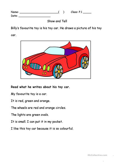 My Favourite Toy Worksheet