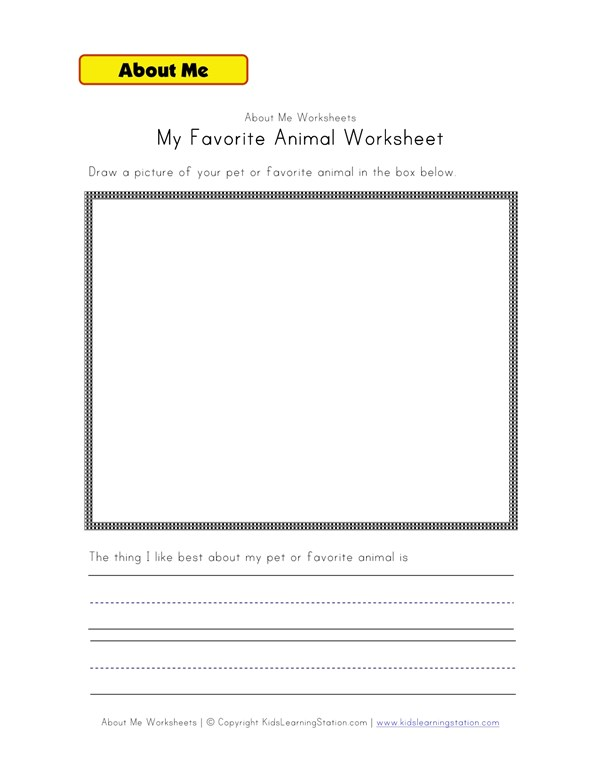 My Pet Or Favorite Animal Worksheet