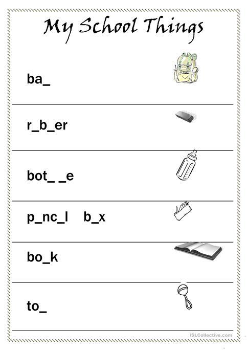 My School Things Worksheet