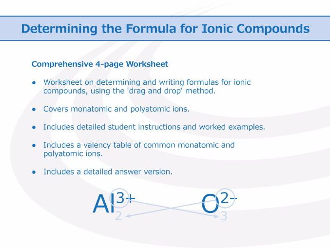 Naming Ions And Ionic Compounds [worksheet] By