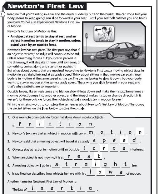 Newtons First Law Worksheet High School  Bf430b7b0c50