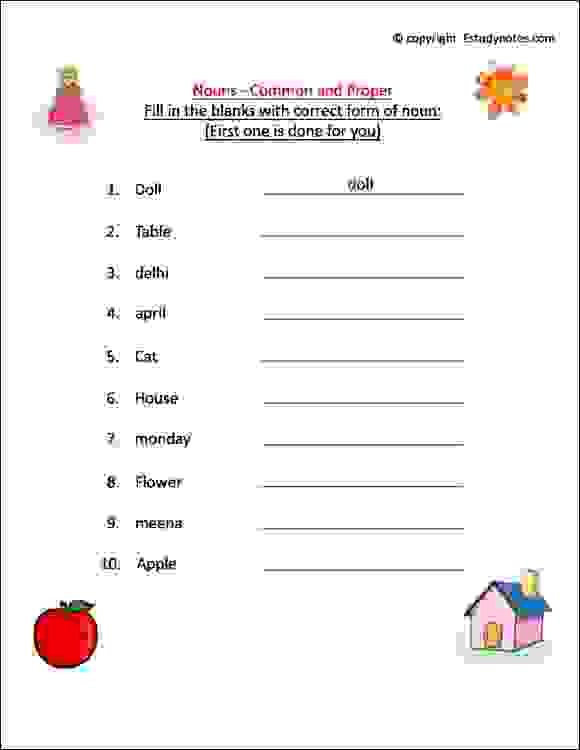 Noun Worksheets For Grade 1, Esl Noun Activity Sheet, Class 1