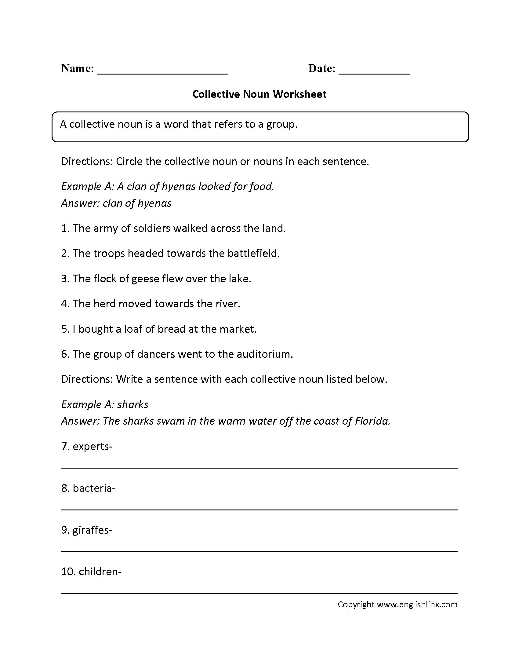 Nouns Worksheet For Grade 7  1476605