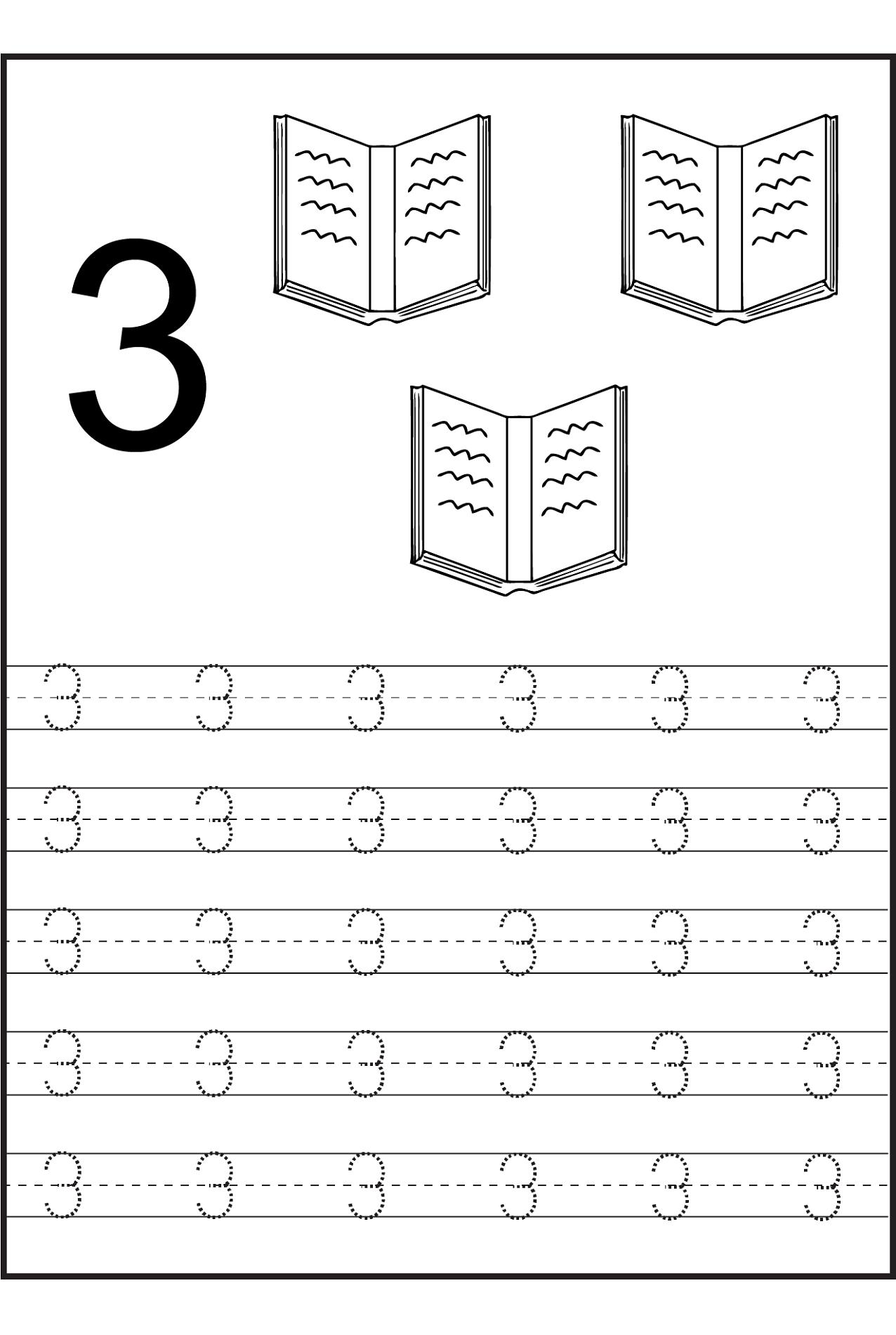 Number 3 Tracing Worksheets For Preschool 1250258