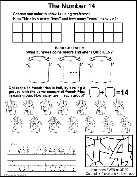 Number Bonds To 14 Free Math Worksheets