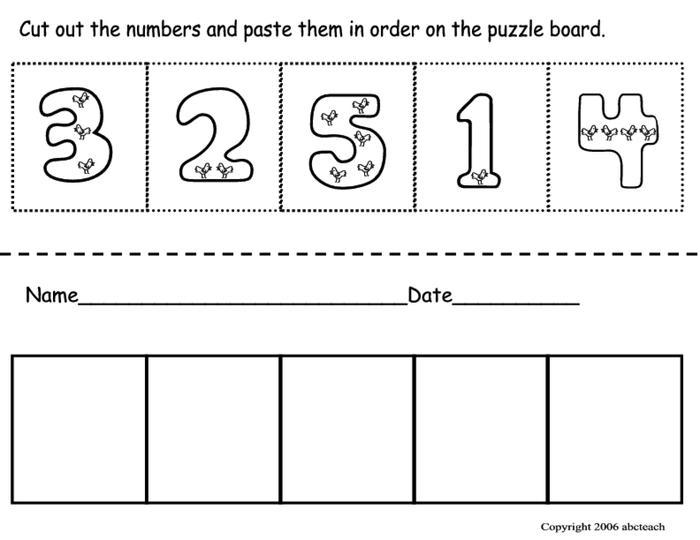 Number Order Worksheets Kindergarten