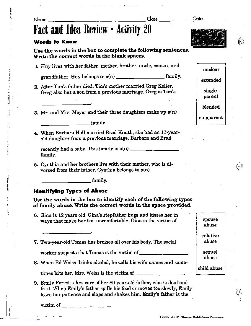 High School Health Class Worksheets