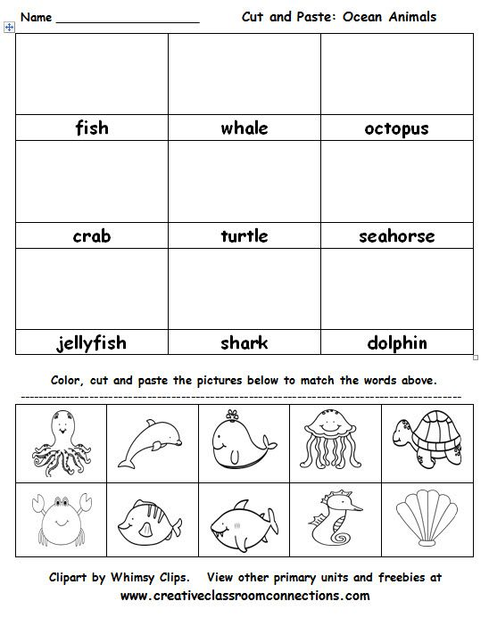 Ocean Animals Cut And Paste Activity Is Great For Vocabulary