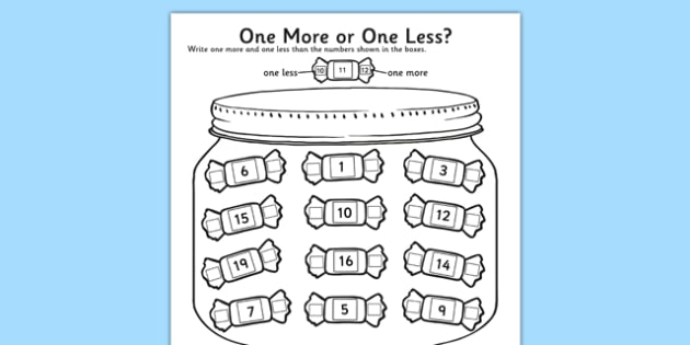One More One Less Sweet Counting Worksheet   Activity Sheet