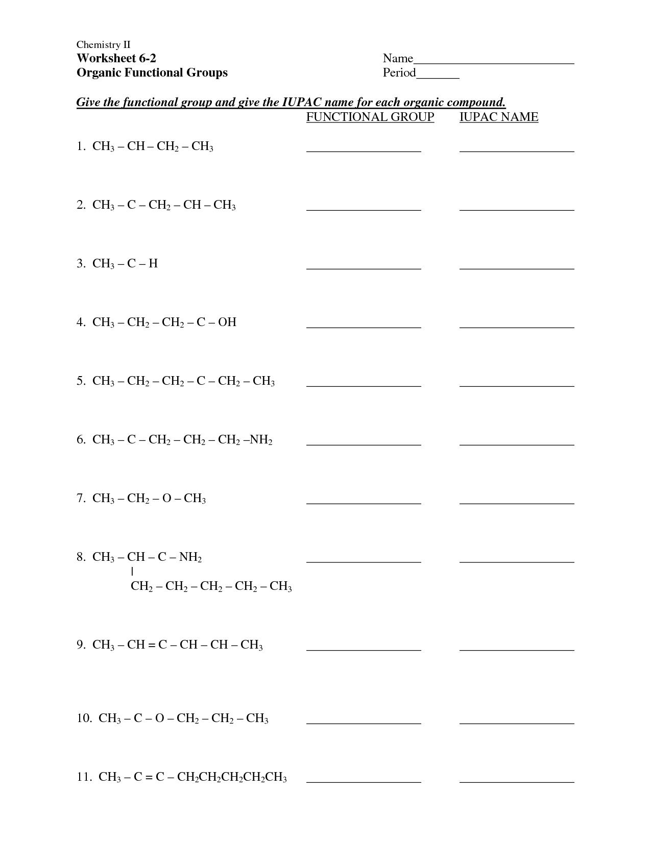 Organic Functional Groups Worksheet Answers