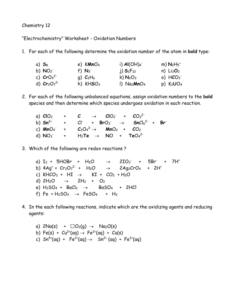 Oxidation Numbers For Each Element Worksheet 376272