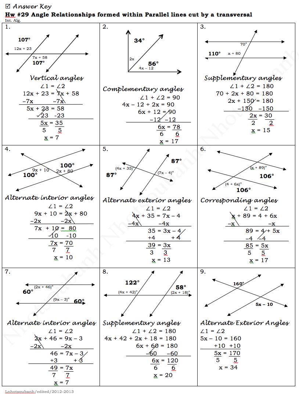 Parallel Lines And Transversal Worksheet  1037181