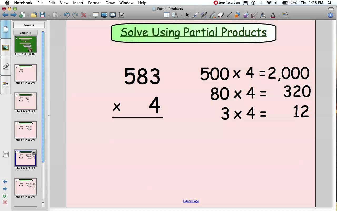 Partial Products Multiplication Youtube Product Worksheets 3rd