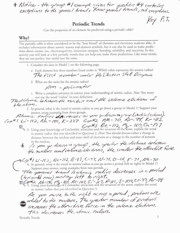 Periodic Trends Worksheet And Key 671030