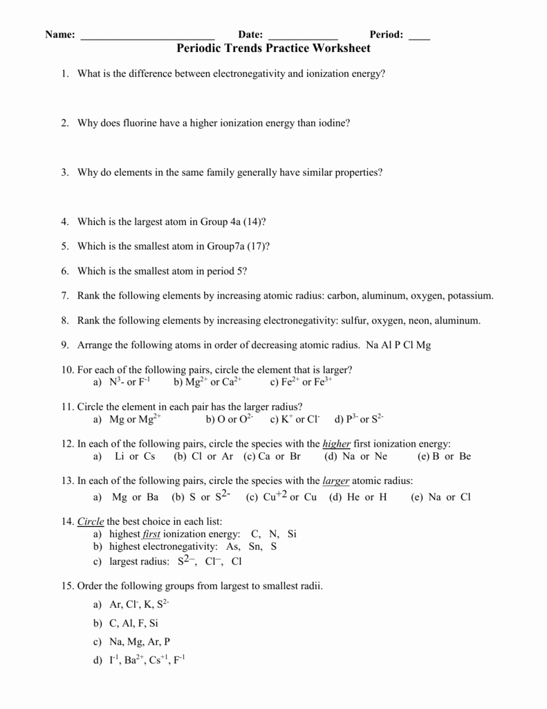Periodic Trends Worksheet Com Answer Key
