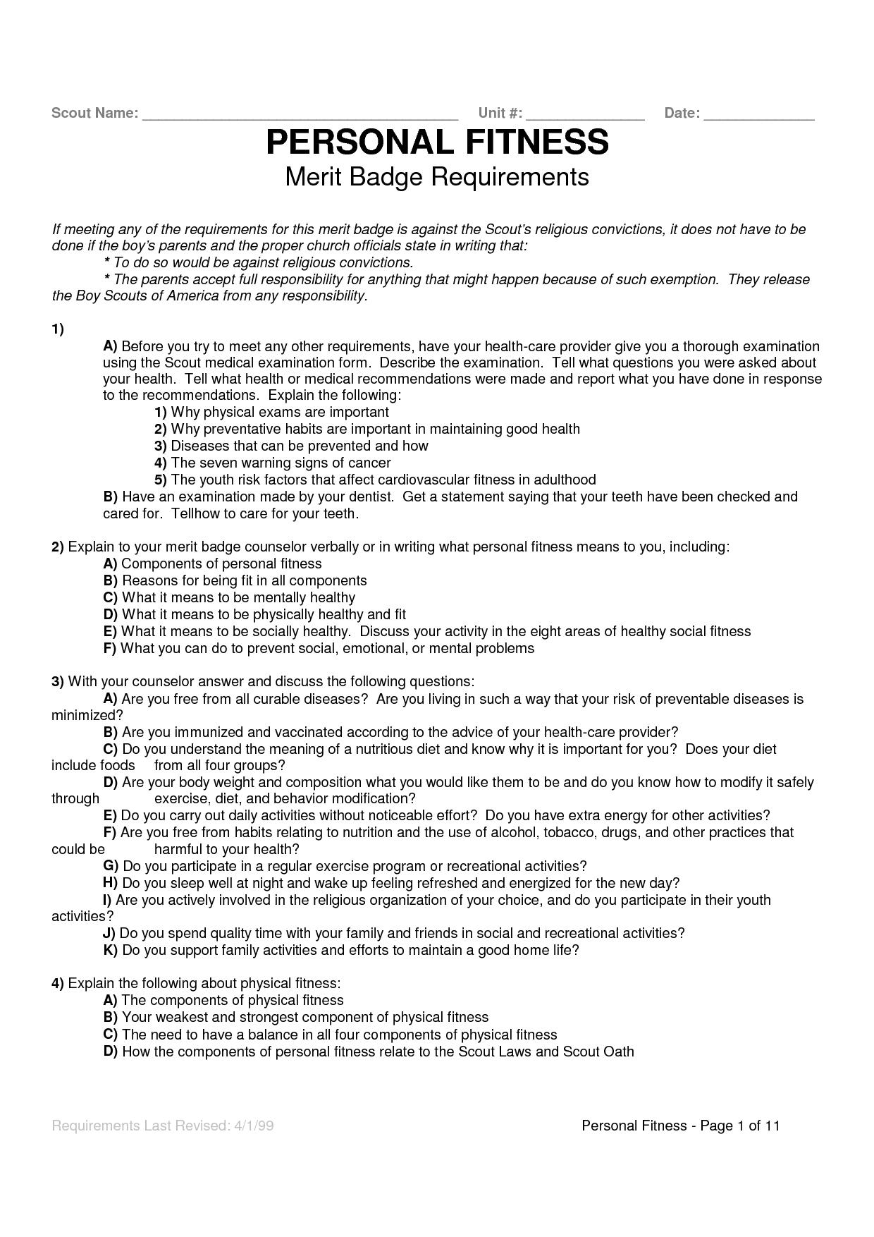 Personal Fitness Worksheet