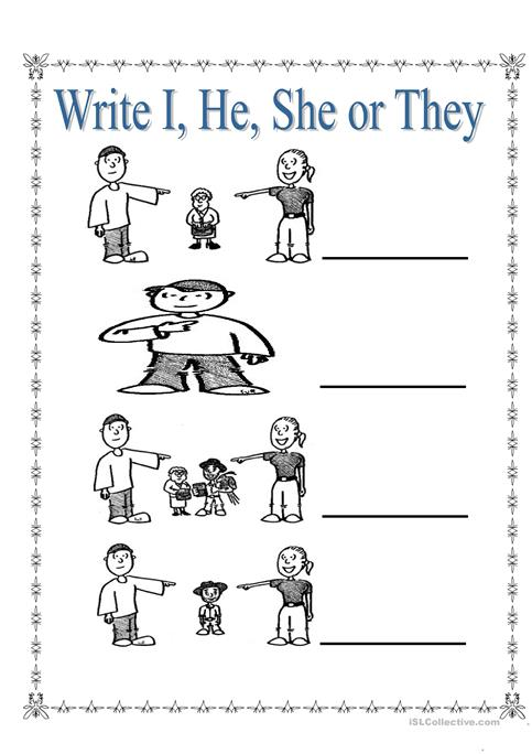 Personal Pronouns I, She, He And They Worksheet