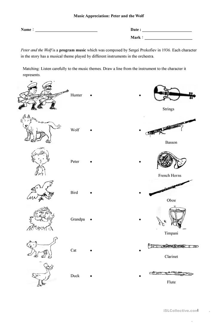 Peter And The Wolf Worksheets 178125