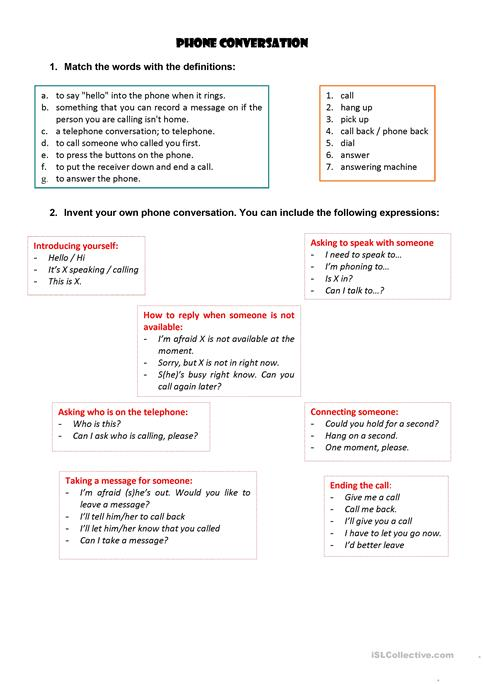 Phone Conversation Worksheet