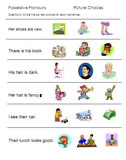 Possessive Pronouns Worksheets For Preschoolers 748803