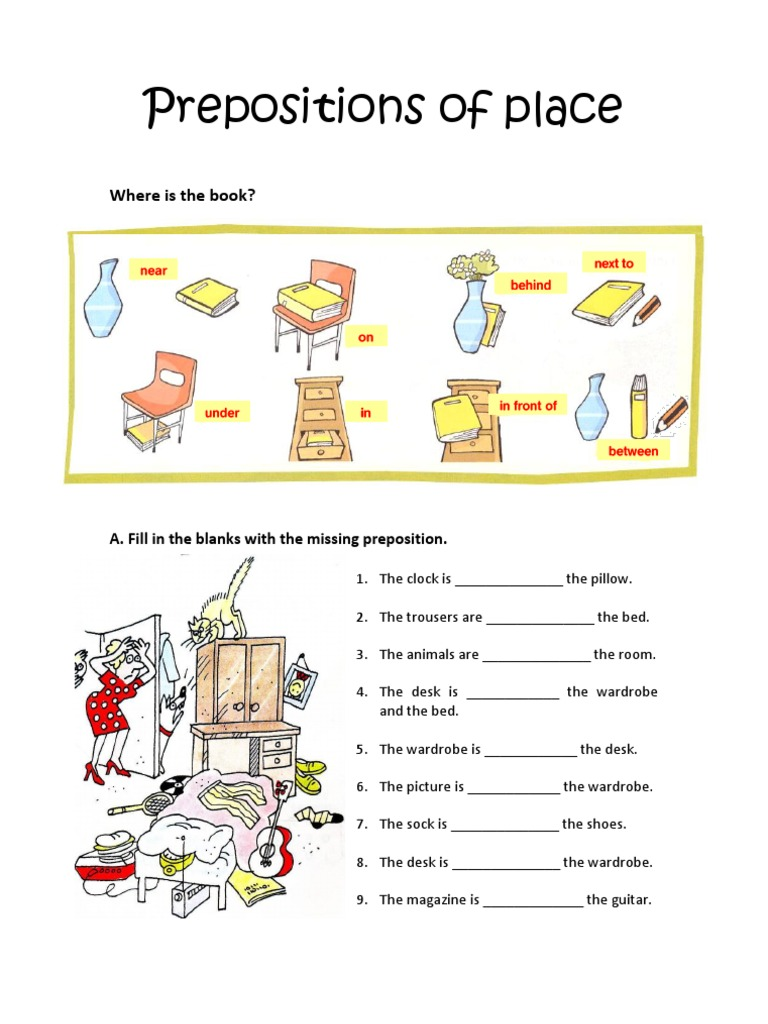 Preposition Of Place Worksheet For Grade 1 1290800