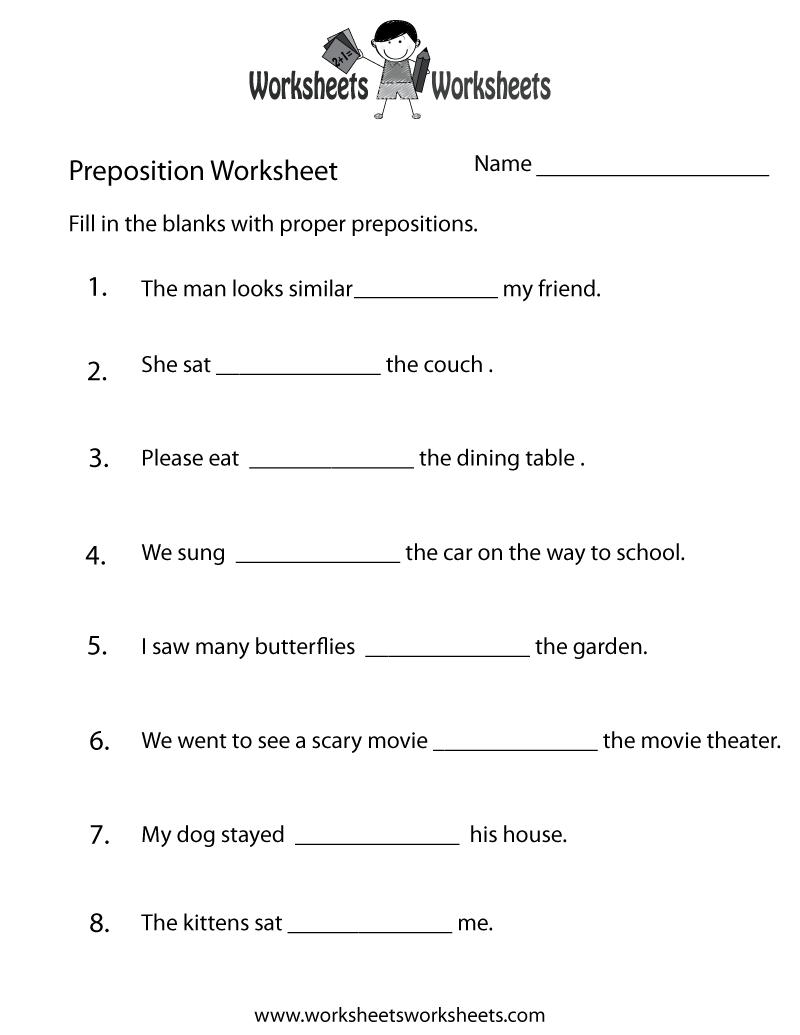 Prepositions Worksheet Pdf Grade 6 852389
