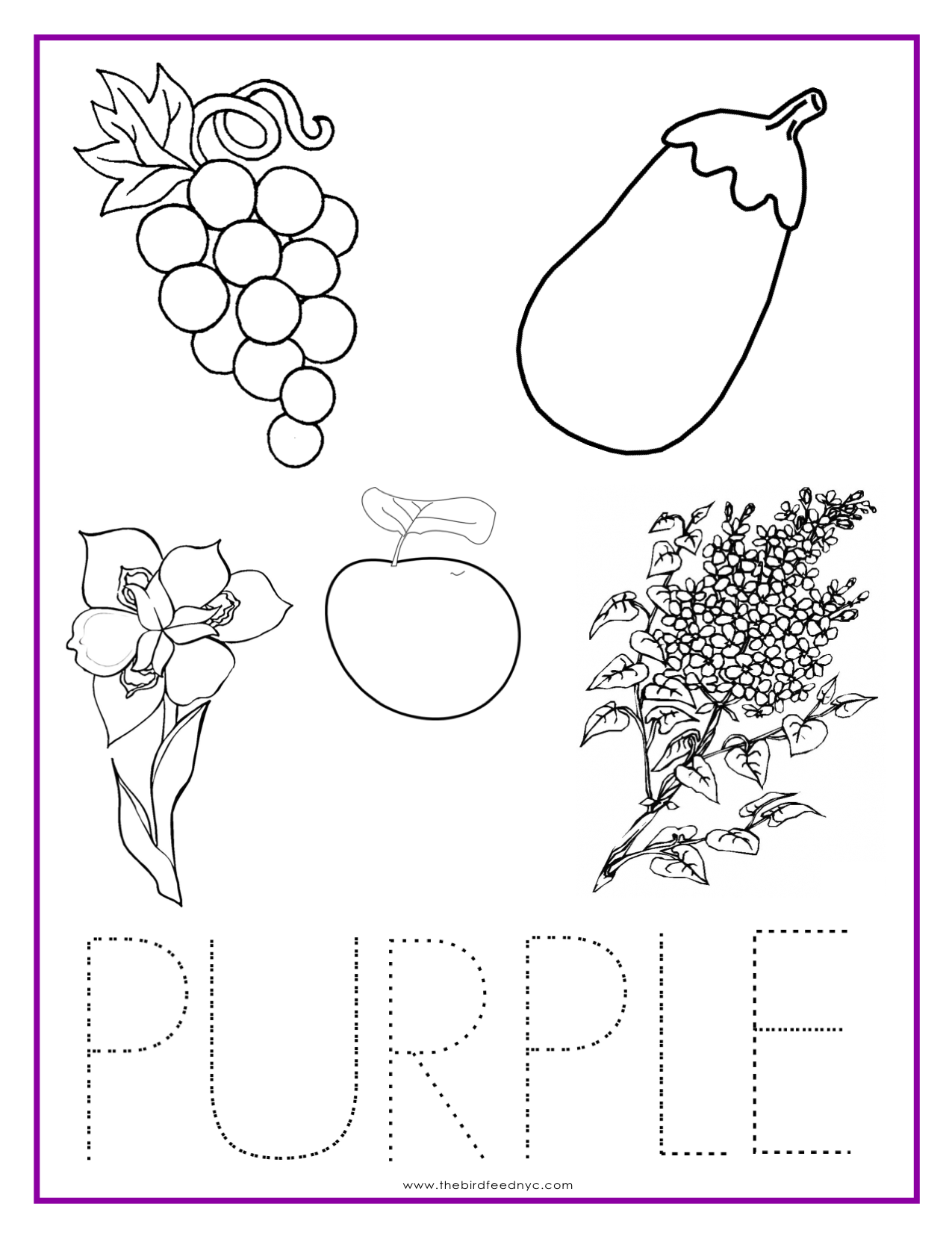 Preschool Color Purple Worksheets 1439874