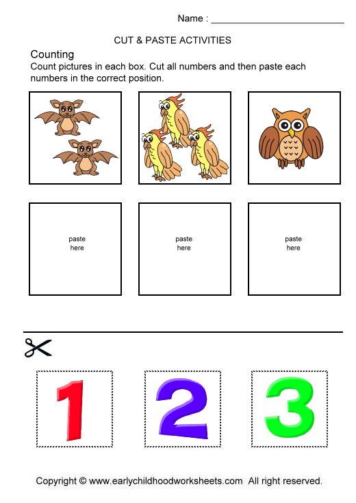Preschool Cut And Paste Number Worksheets