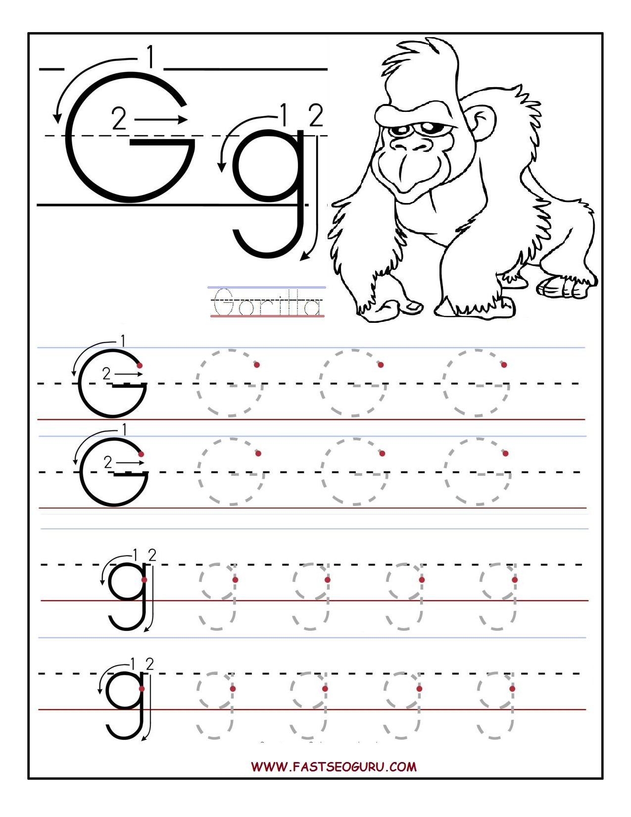 Preschool Letter G Tracing Worksheets 606926