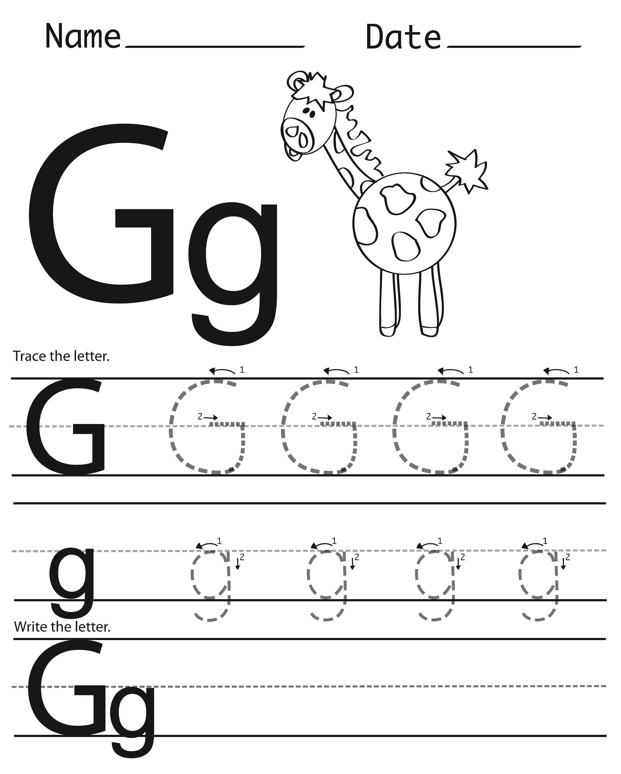 Preschool Letter G Tracing Worksheets 606932