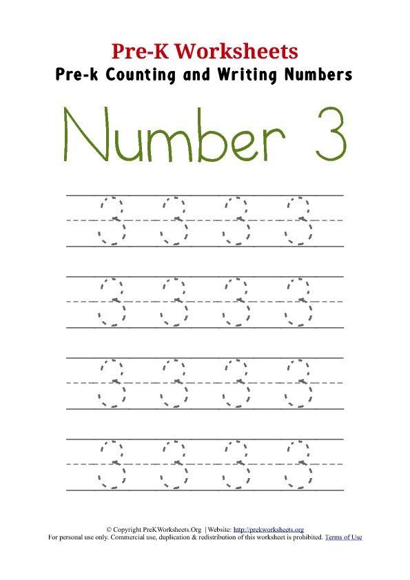 Preschool Number 3 Tracing Worksheets 198307