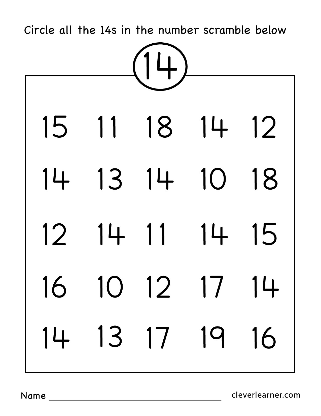 Preschool Worksheet Number 14 862149