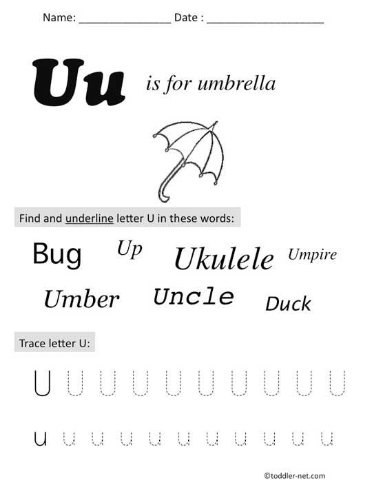 Preschool Worksheets For Letter U 349685