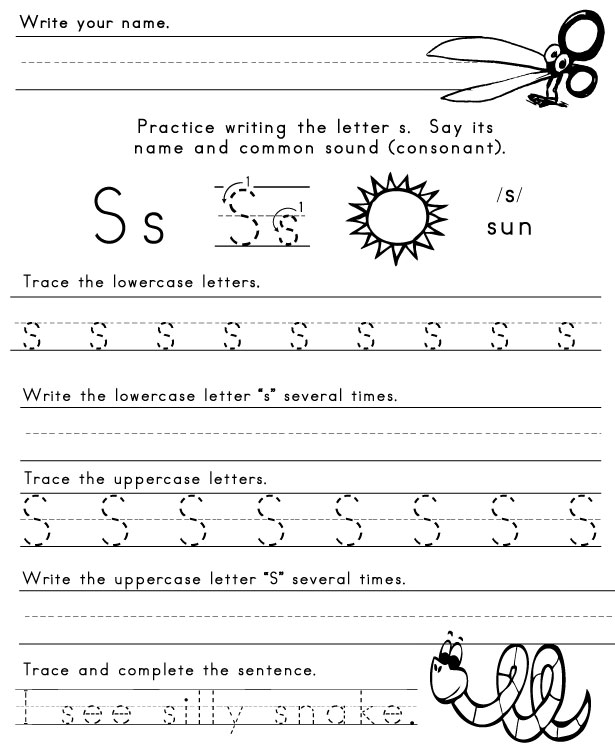 Preschool Worksheets Letter S 89091