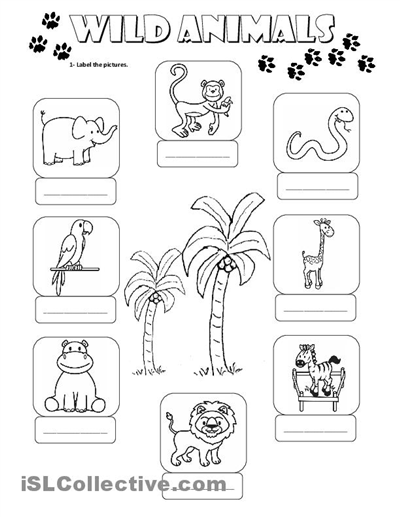 Preschool Worksheets Wild Animals
