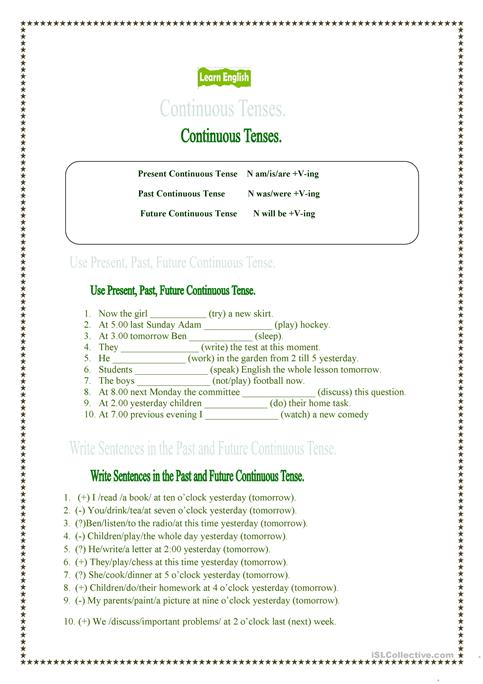 Present, Past And Future Continuous Tenses  Worksheet