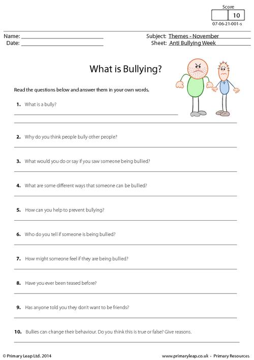 Printable Anti Bullying Worksheets The Best Worksheets Image