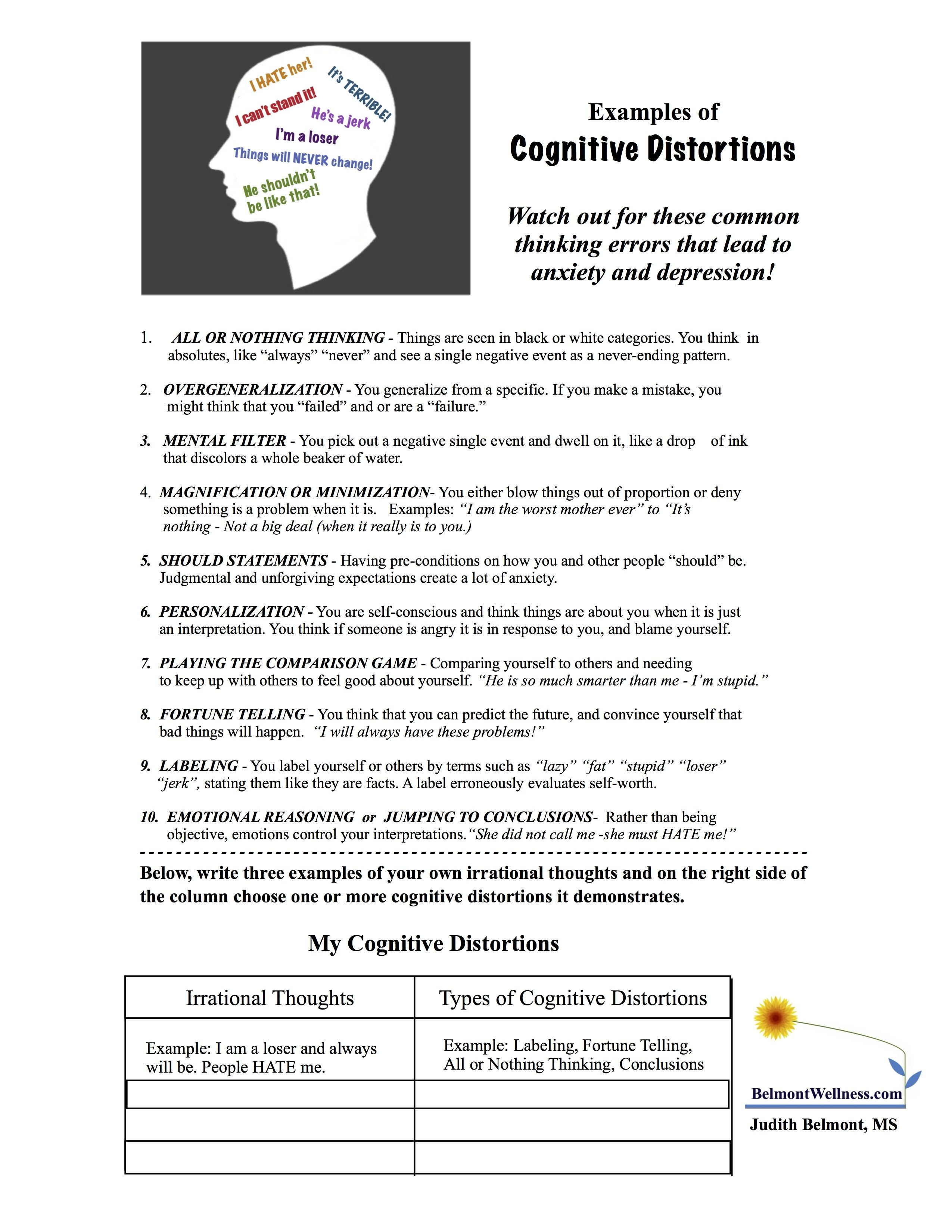 Printable Cognitive Worksheets For Adults  1593428